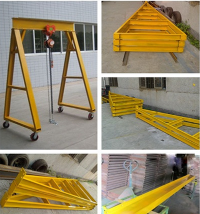 Movable portal gantry crane structure is mainly by channels and I beam. The advantage of movable portal gantry crane is can be all-round move; it can quickly install and disassemble, cover small area. It can be transferred to another site by micro car. Width, height can adjust sizing, can withstand the weight from 100 ~ 5000 kg. Especially suitable for workshop equipment installation, transportation, debugging. Movable portal gantry crane We can supply movable portal gantry crane structure cutting accessories. We have departments including special equipment, design, production, quality control, security. We can have workshops like electrical, welding, holing, cutting, forging, assembly, heat treatment, machine processing. We are a growing company, in the middle of china let